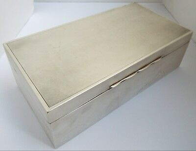 Handsome Large Heavy Antique 1934 Sterling Silver Cigarette Box With Sloping Lid
