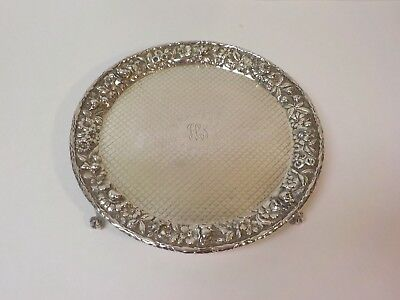 """Kirk REPOUSSE Sterling Silver 10"""" Footed Tray, c. 1896-1924, 470 grams"""