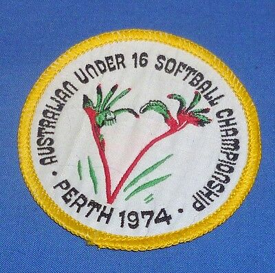 d1974 Australian Under 16 Softball Championship Perth Patch Cloth Badge Not Used
