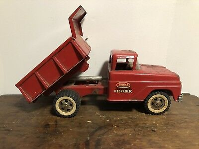 Vintage 1960's Tonka Hydraulic Dump Truck Red Pressed Steel Old Toy