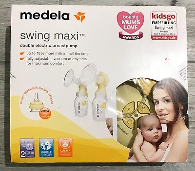 USED ONCE! Medala Swing Maxi Double Electric Breast Pump with Calma Boxed