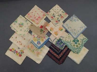Lot of 14 Vintage Handkerchiefs Hankies Flowers Scalloped Edges