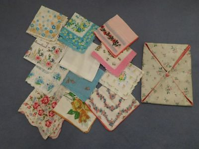 Lot of 12 Vintage Handkerchiefs Hankies & Hankie Pouch Flowers Scalloped Edges