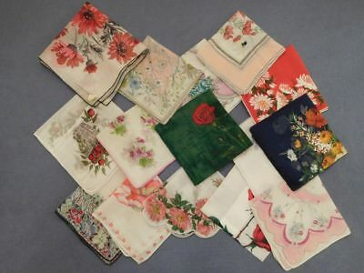 Lot of 15 Vintage Handkerchiefs Hankies Flowers Deco Designs Bold