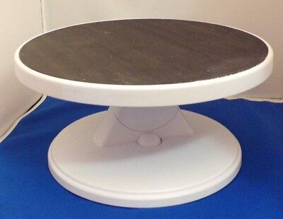 """Used Tilting Revolving CAKE TURNTABLE STAND DECORATING NON SLIP 12"""" Round Top"""