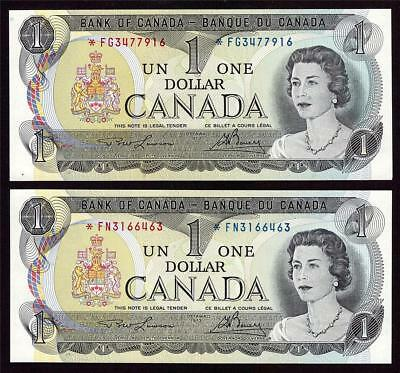 2x 1973 Canada $1 dollar replacement banknotes BC-46aA *FN  & *FG  UNC63 EPQ