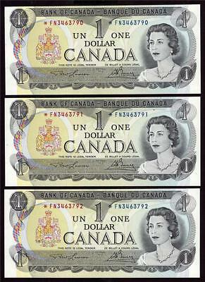 3x 1973 Canada $1 dollar replacement notes BC-46aA *FN3463790-92 UNC63 EPQ
