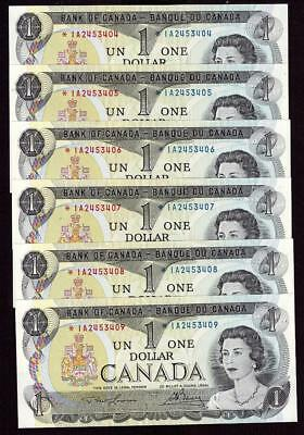 6x 1973 Canada $1 dollar replacement notes BC-46aA *IA2453404-09 UNC63 EPQ