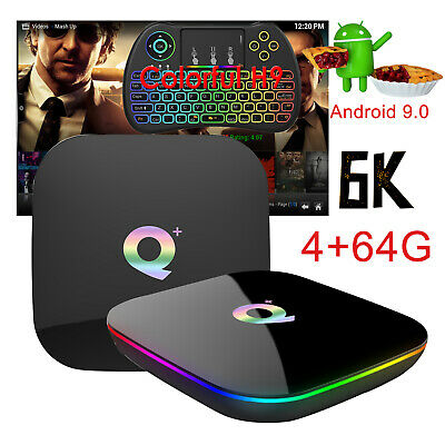 2019 6K Android 9.0 4+64G Q Plus Quad Core Smart TV Box WIFI+BT With Keyboard H9