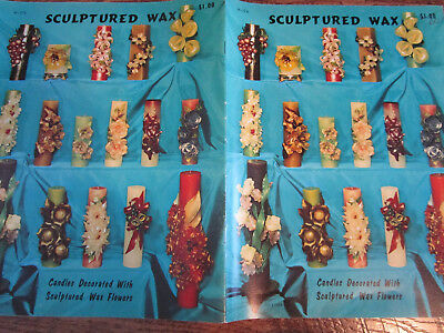 1966 Vtg HOW to MAKE Sculptured Wax Candles Instruction Booklet Carve Flowers