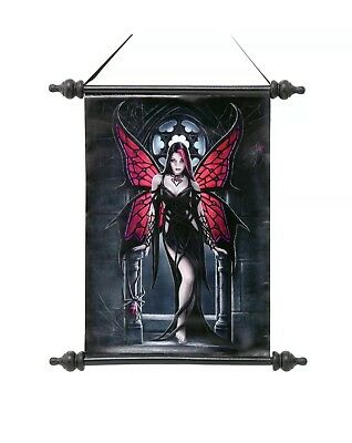 "Anne Stokes Scroll Wall Hanging Wall Art ""Aracnafaria"" Gothic Fairy with Spider"