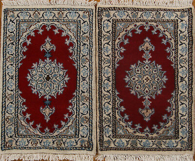 Pair Of Traditional Floral Red Nain Persian Hand-Knotted Rug Oriental Wool 1'x2'