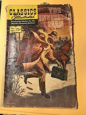 Classics Illustrated #153 (1971) – HRN 169 – The Invisible Man – H.G. Wells – VG