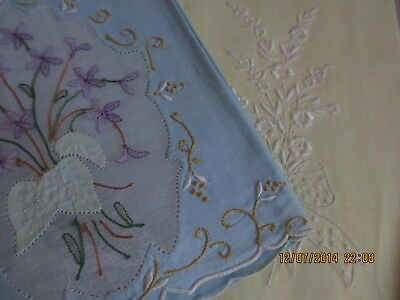 Lot Of (11) Madiera Vtg. Hand Towels Linen Pink Yellow Blue White Hand Embroid