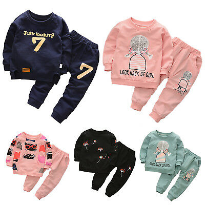 2Pcs Kids Boys Girls Long Sleeve Casual Sweater Tops + Pants Outfits Set Clothes