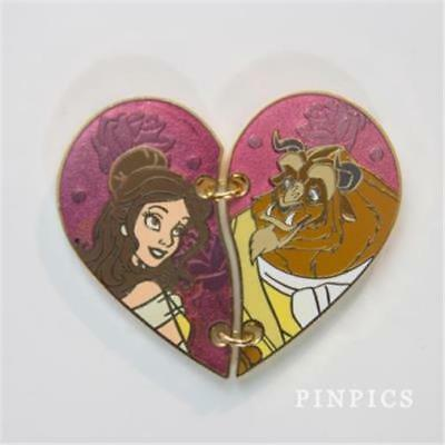 2016 BEAUTY & THE BEAST TWO 2 PIECE HEART Disney Pin 113566