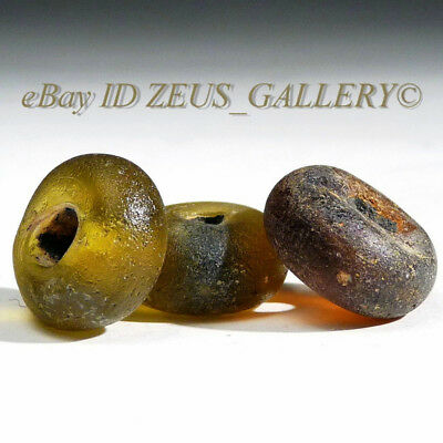 3 Ancient Glass Beads Green, Red 1400 Years Old! Ex Bonhams London UK 2004