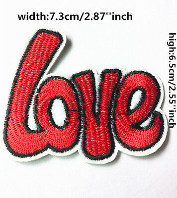 DIY Sewing Embroidery LOVE On Patch Stickers Badge Embroidered Fabric Applique