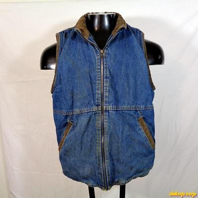 WRANGLER HERO Vintage Cotton Denim VEST Mens Size M Blue Sherpa pile lined