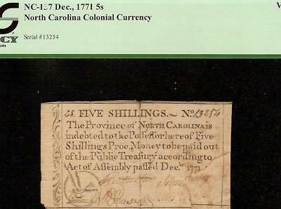 1771 North Carolina Quill Pen Inkwell Note Colonial Currency Note Money Pcgs