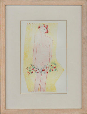 Framed Contemporary Mixed Media - Female Nude with Flowers