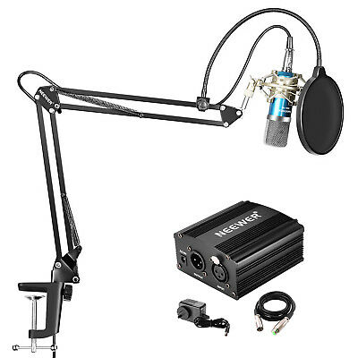 Neewer NW-700 Condenser Microphone and Stand Kit with 48V Phantom Power Supply
