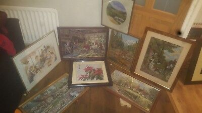 Job lot Of Various Textile Art in Solid Frames