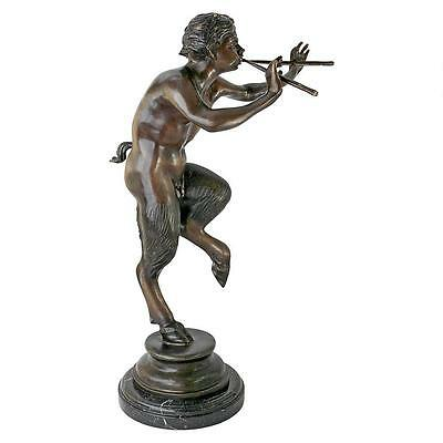 "26"" Pan Greek God Sculpture Statue 100% BRONZE Museum Replica Reproduction"