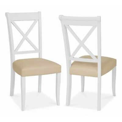 Georgian Painted White & Oak Furniture Wooden Ivory Cross Back Dining Chair PAIR