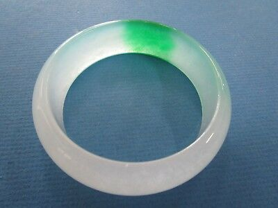 Chinese   Jade Semi Translucent Ladies Wide Bangle (Treated)