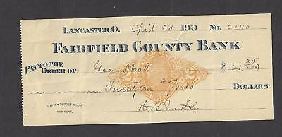 1900 Lancaster Ohio Bank Check RN-X7