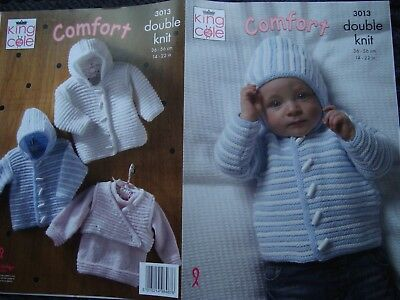 King Cole 3013 Baby's Jacket & SweaterDK Knitting Pattern Size 14-22""