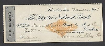 1901 Leicester Massachusetts Bank Check RN-X7