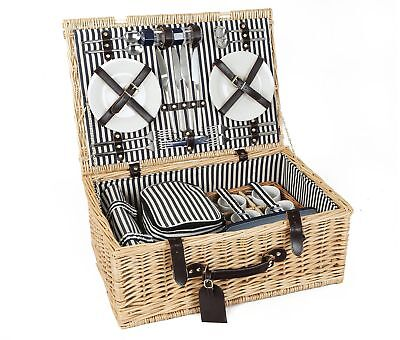 Greenfield Collection Cheltenham Willow Picnic Hamper for Four People with Match