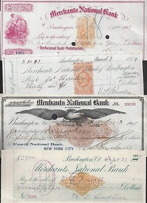 4 Vermont Bank Checks/Drafts 1868-1901