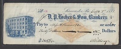 "1881 Lancaster Pennsylvania Bank Check RN-G1 ""Bank"""