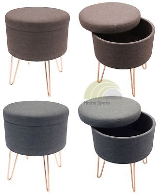 Blue Or Brown Storage Footstool Round Pouffe Stool Foot Rest With Metal Legs