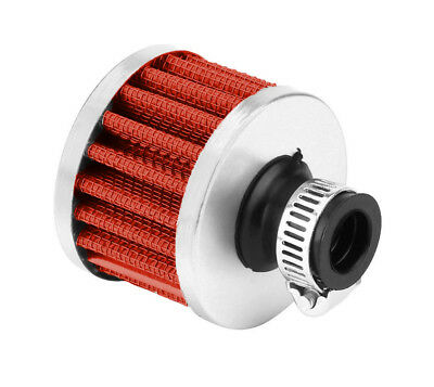 Protective Chrome Breather Filter Universal Fitment 10mm - 15mm - Red