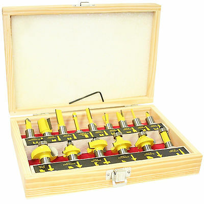 Pro Quality 15pc 1/2inch Shank Router Bit Set in Illustrated Wooden Box Case