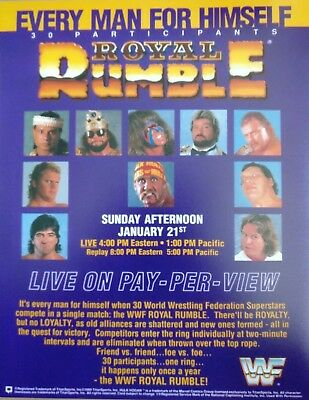 WWF WWE Royal Rumble 1990 Vintage Retro Wrestling Poster