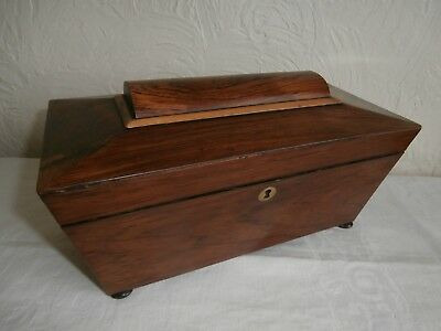 Antique Early Victorian Sarcophagus Shaped Wooden Tea Caddy - With Bowl