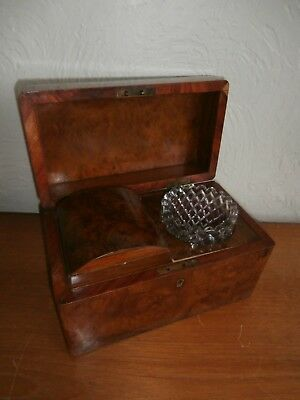 Antique Mid Victorian Rectangular Wooden Tea Caddy - With Bowl
