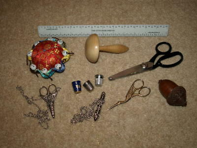 Sewing Job Lot. Treen Acorn Needle Holder, Darning Mushroom Thimbles, Scissors.