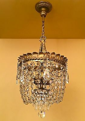 Vintage Lighting antique 1920s crystal chandelier extraordinary