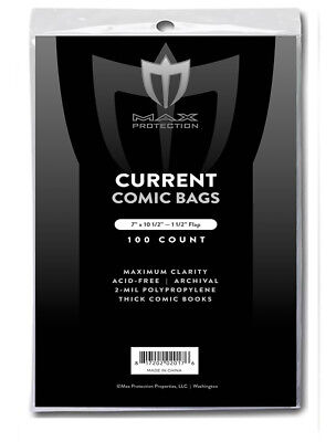100 Max Pro Thick Current Modern Comic Book Archival Poly Bags 7 X 10 1/2