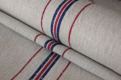 Grain sack fabric 8.2 YARDS red + blue striped grainsack material upholstery old