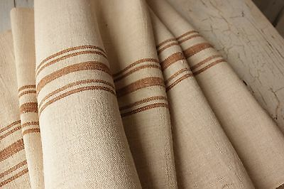 Grain sack grainsack fabric vintage linen 7 y WASHED caramel NUBBY upholstery