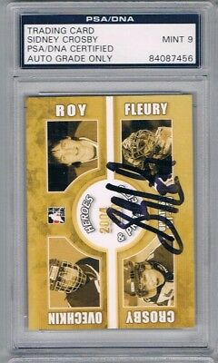 2004-05 ITG Heroes Sidney Crosby Pre-Rookie Autographed Card Graded PSA 9
