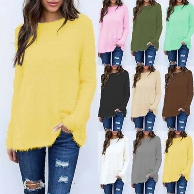 Womens Fluffy Sweater Long Sleeve knitted Pullover Casual Warm Tops Blouse Coat