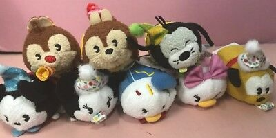 Disney Parks Mickey's 90th Birthday Mini Tsum Tsum Set of 8 Toy Plush + Button